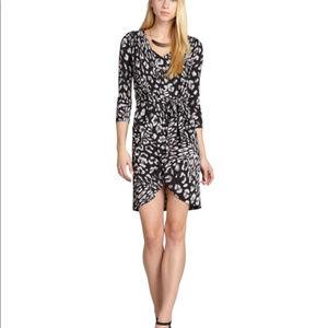 BCBGMAXAZRIA Sidney leopard wrap tie waist dress